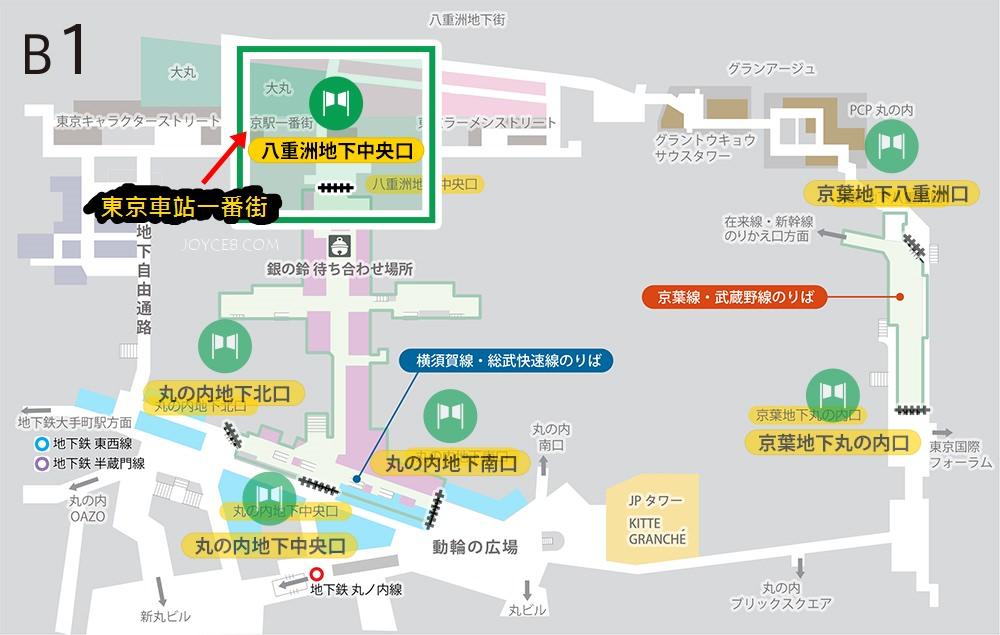 東京車站一番街怎麼去,東京車站一番街地圖