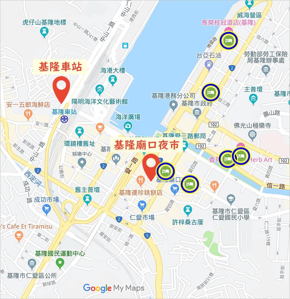 基隆住宿地圖,基隆飯店地圖,基隆住宿地理位置