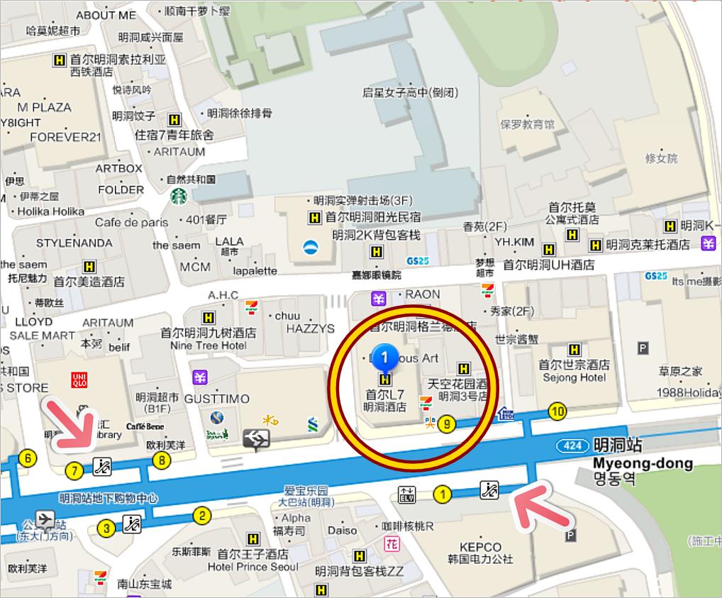 明洞住宿|明洞L7樂天飯店,採光超棒!色彩鮮明活潑的 L7 Myeongdong