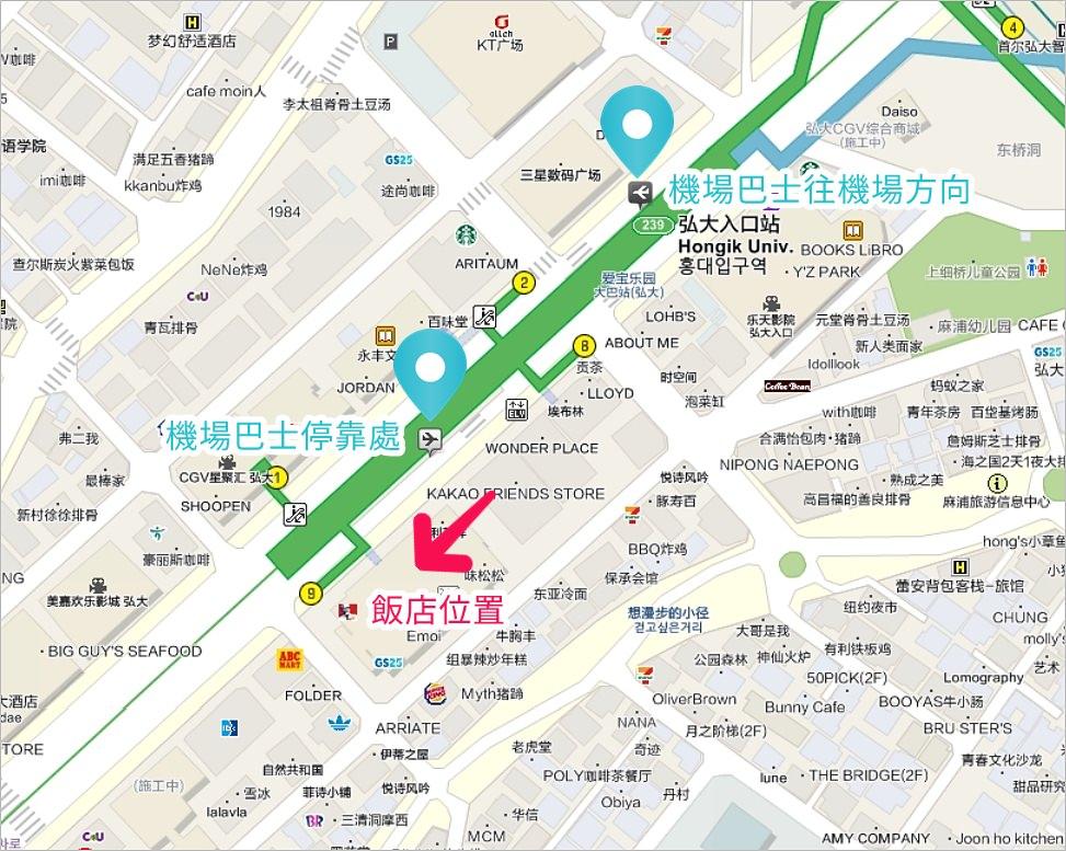弘大柳樹公寓地圖,弘大柳屋地圖,弘大柳屋路線圖